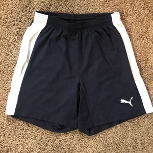 Navy and White Puma Soccer Shorts